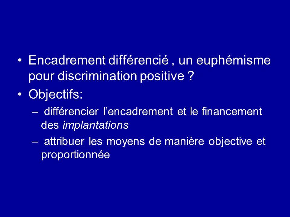 Encadrement différencié, un euphémisme pour discrimination positive ? Objectifs: – différencier l'encadrement et le financement des implantations – at