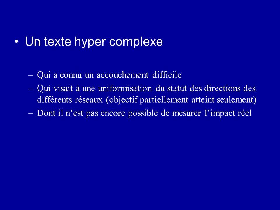 Un texte hyper complexe –Qui a connu un accouchement difficile –Qui visait à une uniformisation du statut des directions des différents réseaux (objec