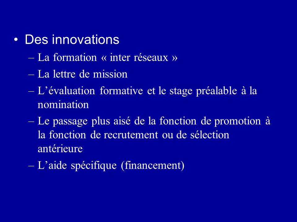 Des innovations –La formation « inter réseaux » –La lettre de mission –L'évaluation formative et le stage préalable à la nomination –Le passage plus a