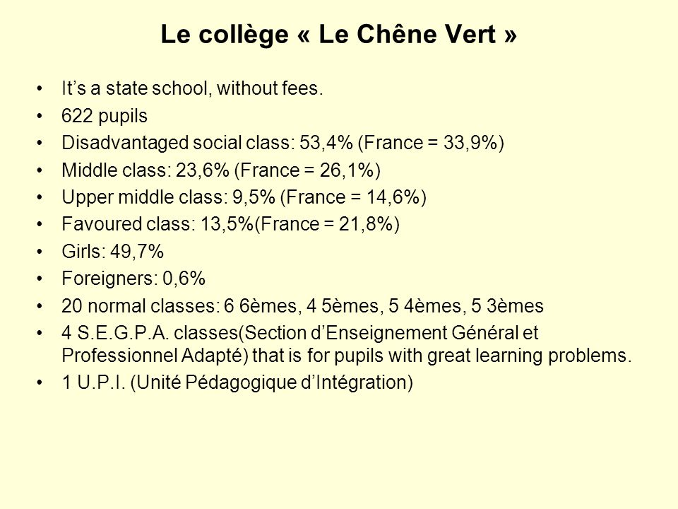 Le collège « Le Chêne Vert » It's a state school, without fees. 622 pupils Disadvantaged social class: 53,4% (France = 33,9%) Middle class: 23,6% (Fra