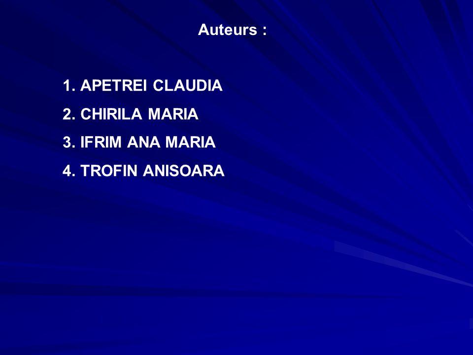 Auteurs : 1.APETREI CLAUDIA 2.CHIRILA MARIA 3.IFRIM ANA MARIA 4.TROFIN ANISOARA