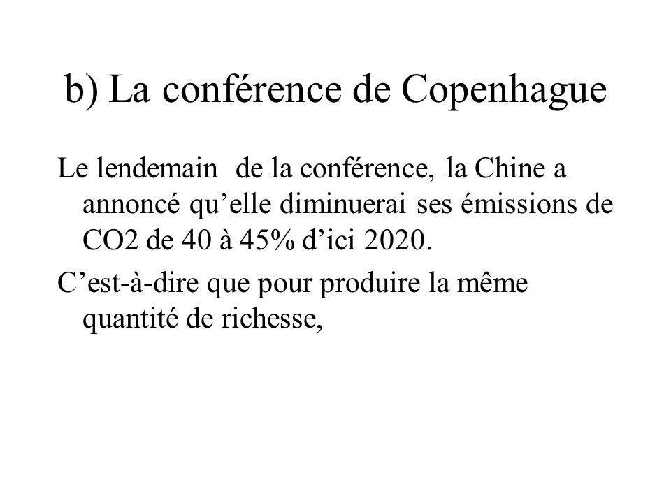 b) La conférence de Copenhague Le lendemain de la conférence, la Chine a annoncé qu'elle diminuerai ses émissions de CO2 de 40 à 45% d'ici 2020.
