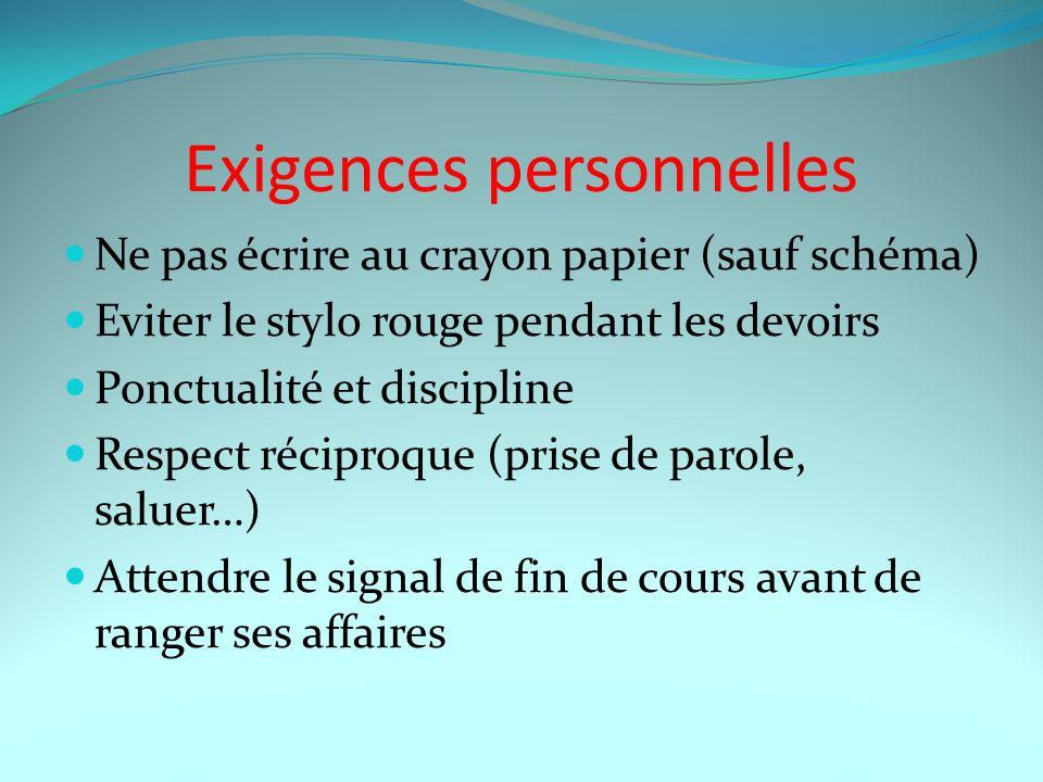 Exigences personnelles Ne pas écrire au crayon papier (sauf schéma) Eviter le stylo rouge pendant les devoirs Ponctualité et discipline Respect récipr