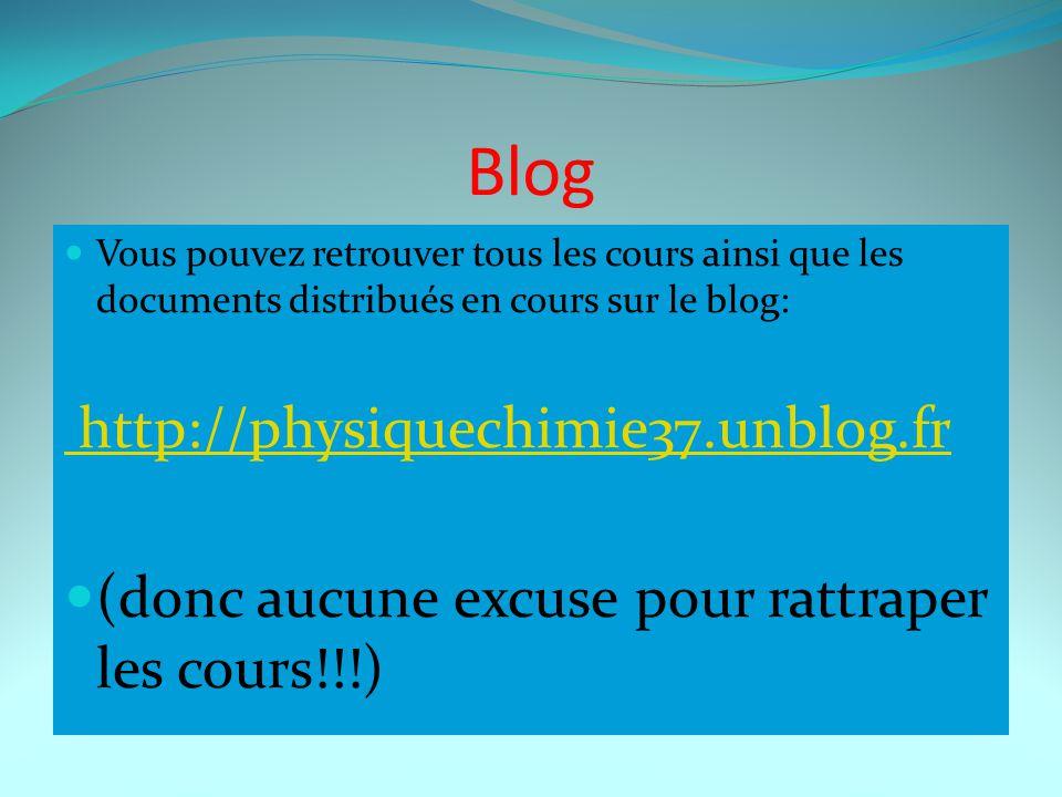 Blog Vous pouvez retrouver tous les cours ainsi que les documents distribués en cours sur le blog: http://physiquechimie37.unblog.fr (donc aucune excu
