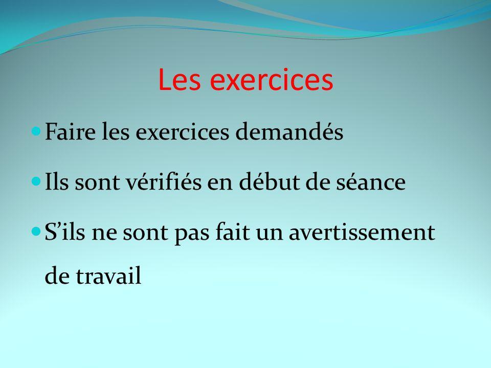 Les exercices Faire les exercices demandés Ils sont vérifiés en début de séance S'ils ne sont pas fait un avertissement de travail