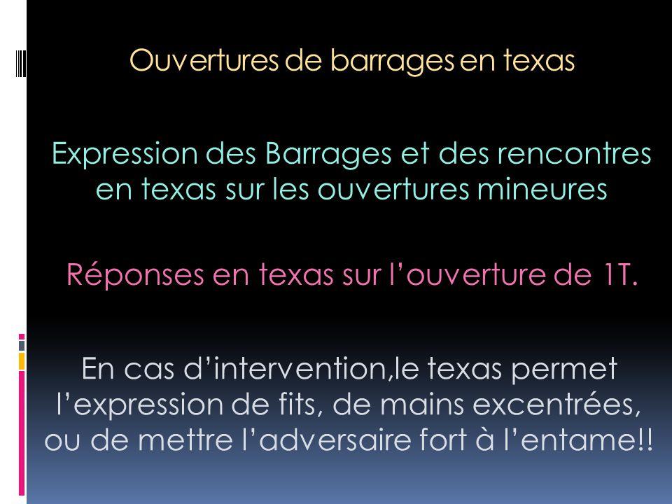 Ouvertures de barrages en texas Expression des Barrages et des rencontres en texas sur les ouvertures mineures En cas d'intervention,le texas permet l