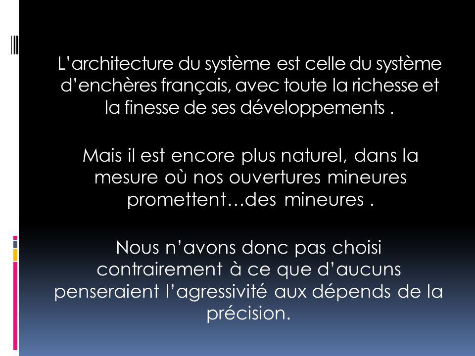 L'architecture du système est celle du système d'enchères français, avec toute la richesse et la finesse de ses développements. Mais il est encore plu