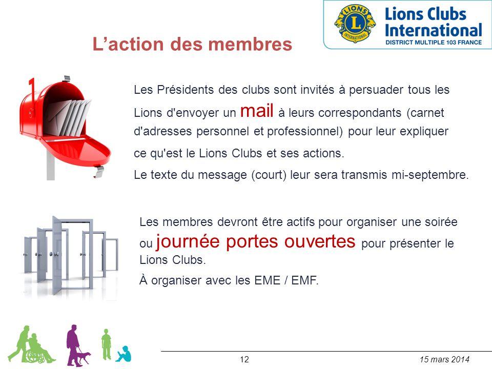 1215 mars 2014 L'action des membres Les Présidents des clubs sont invités à persuader tous les Lions d'envoyer un mail à leurs correspondants (carnet