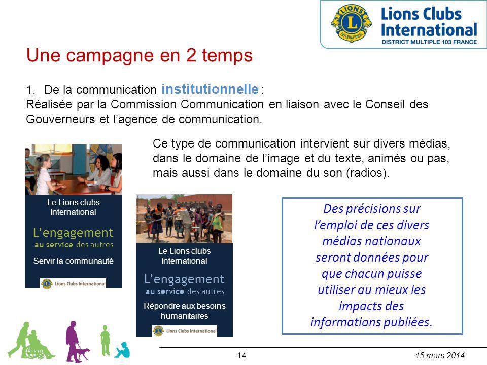 1415 mars 2014 Une campagne en 2 temps 1.De la communication institutionnelle : Réalisée par la Commission Communication en liaison avec le Conseil de