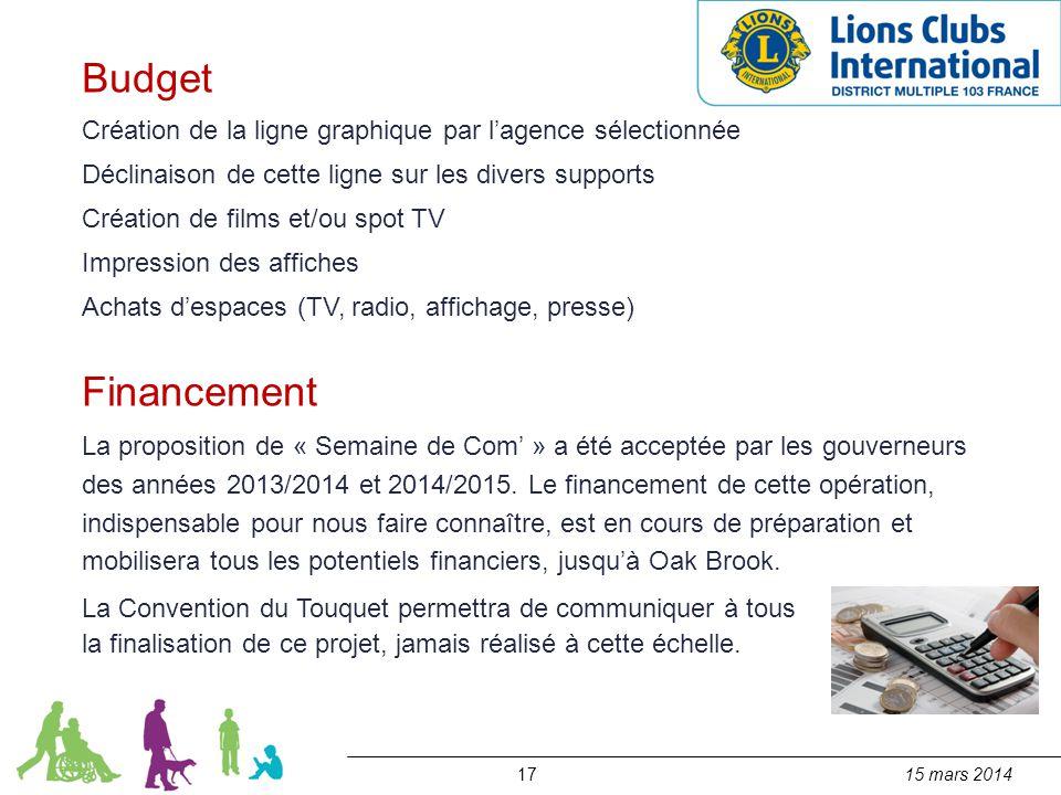 1715 mars 2014 Budget Création de la ligne graphique par l'agence sélectionnée Déclinaison de cette ligne sur les divers supports Création de films et