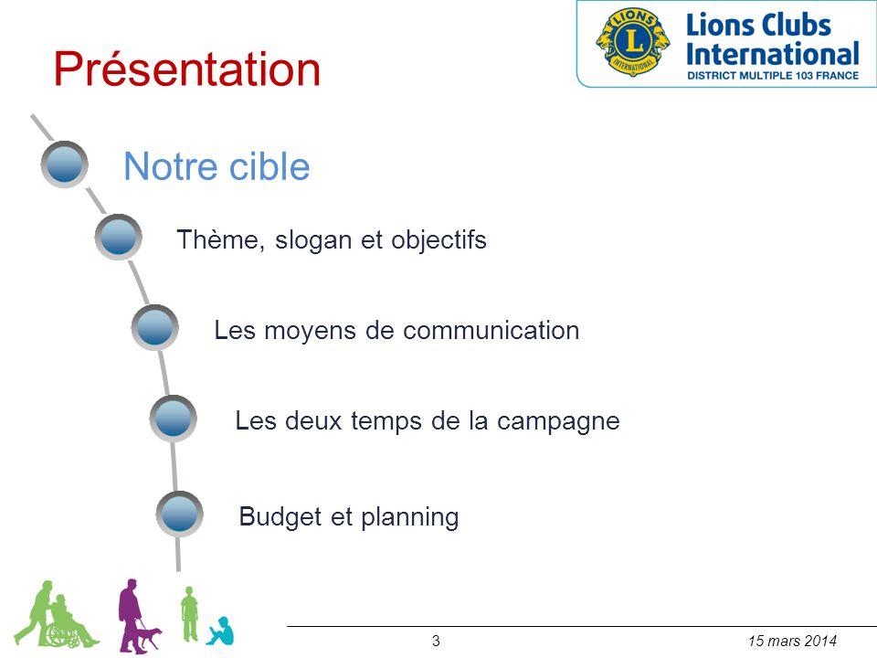 315 mars 2014 Notre cible Thème, slogan et objectifs Les moyens de communication Les deux temps de la campagne Budget et planning Présentation