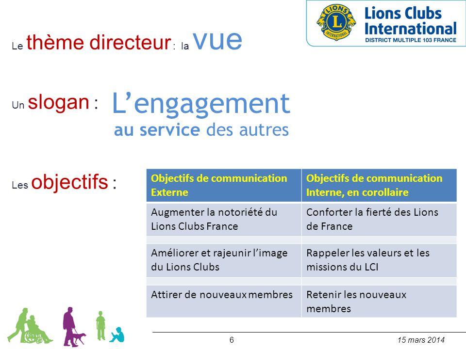 615 mars 2014 Le thème directeur : la vue Un slogan : L'engagement au service des autres Objectifs de communication Externe Objectifs de communication