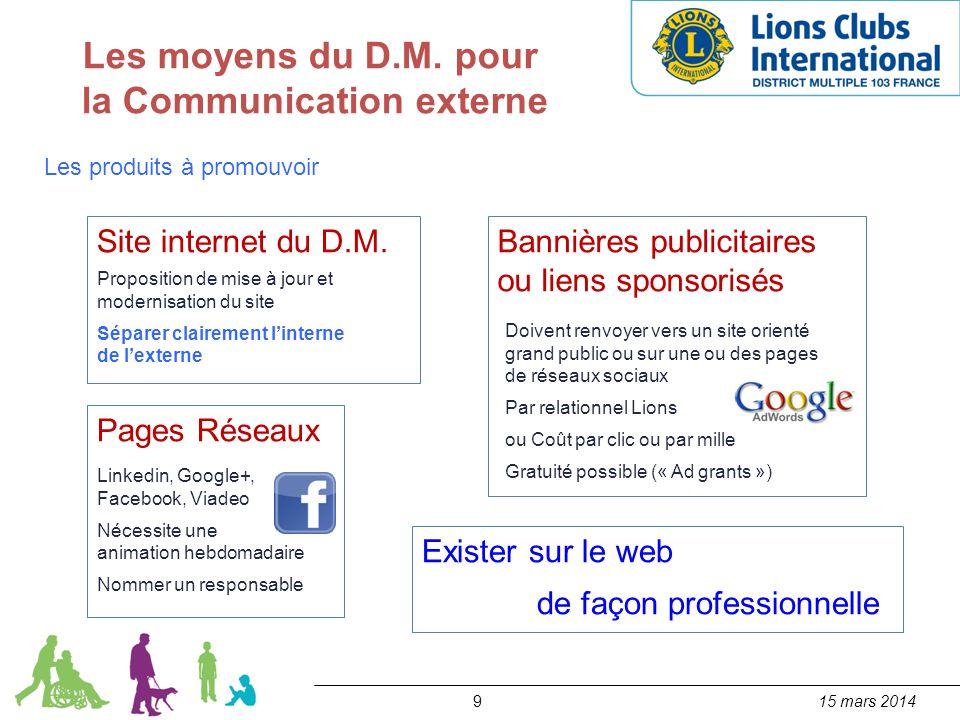 915 mars 2014 Les moyens du D.M. pour la Communication externe Les produits à promouvoir Site internet du D.M. Proposition de mise à jour et modernisa