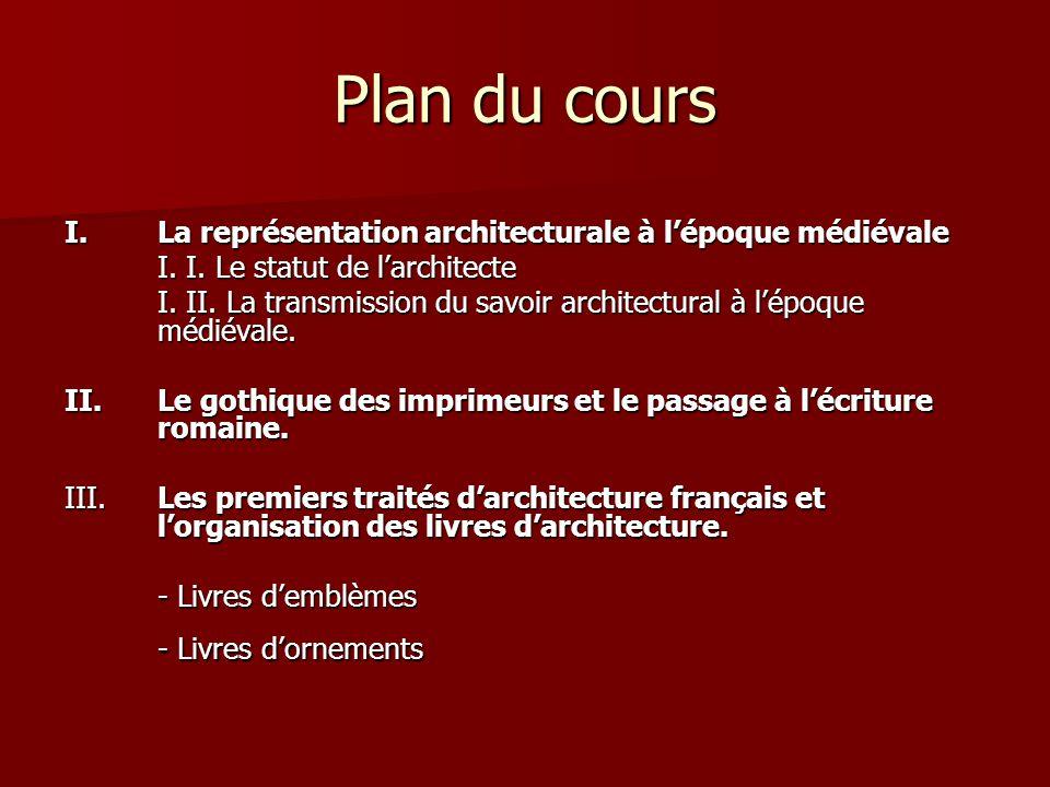 Plan du cours I.La représentation architecturale à l'époque médiévale I.