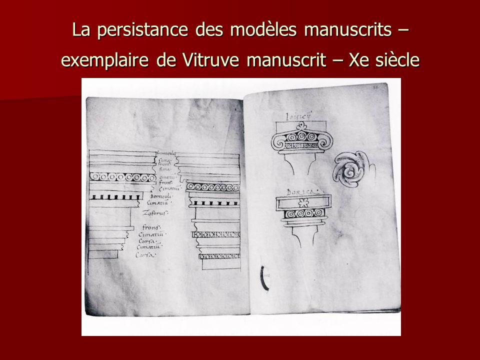 La persistance des modèles manuscrits – exemplaire de Vitruve manuscrit – Xe siècle