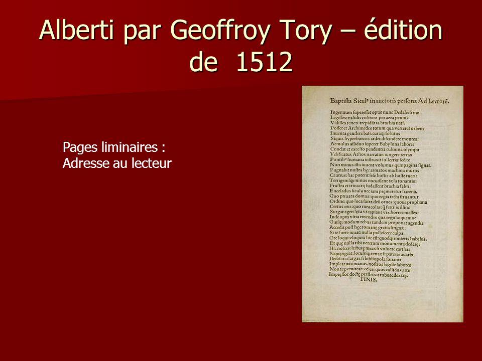 Alberti par Geoffroy Tory – édition de 1512 Dédicace de Geoffroy Tory