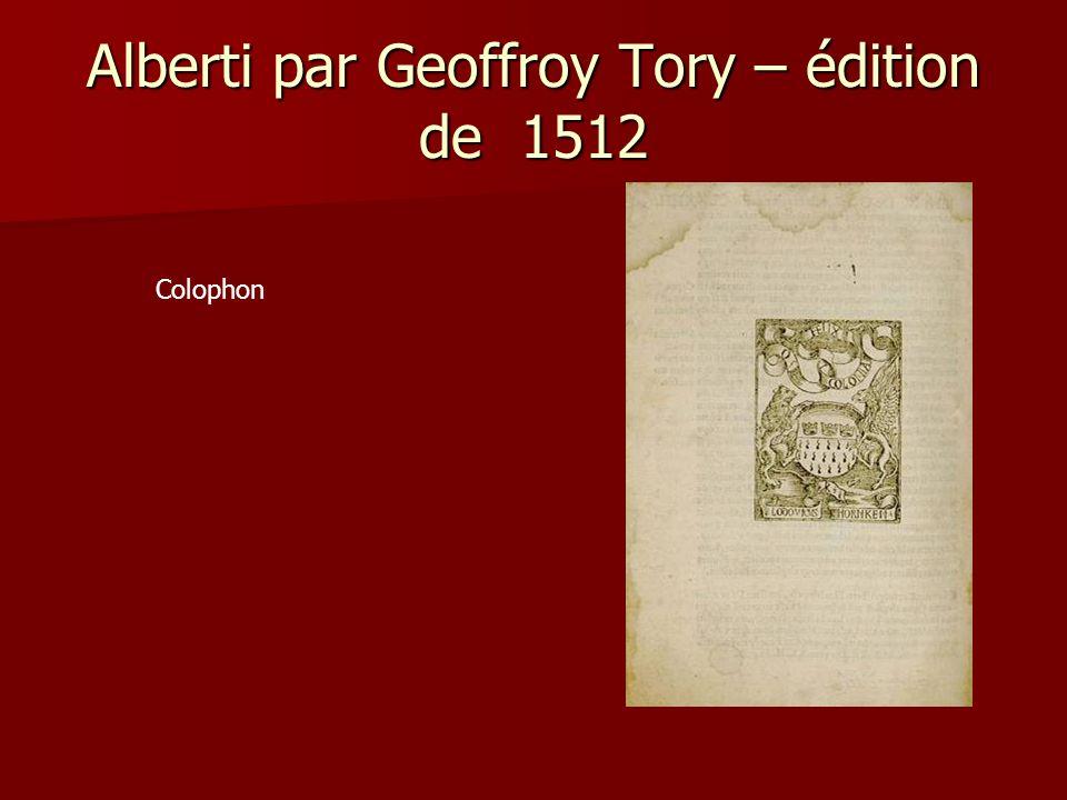 Alberti par Geoffroy Tory – édition de 1512 Colophon