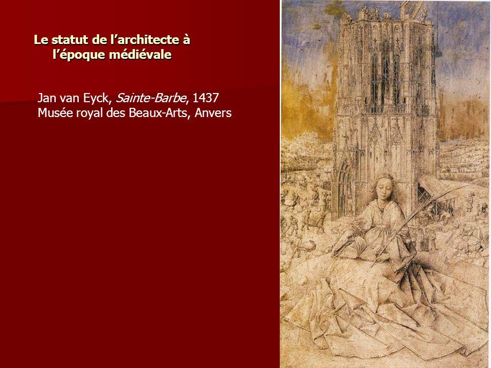 Le statut de l'architecte à l'époque médiévale Jan van Eyck, Sainte-Barbe, 1437 Musée royal des Beaux-Arts, Anvers