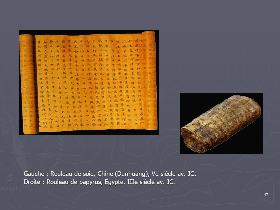 17 Gauche : Rouleau de soie, Chine (Dunhuang), Ve siècle av.