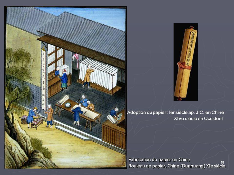 18 Fabrication du papier en Chine Rouleau de papier, Chine (Dunhuang) XIe siècle Adoption du papier : Ier siècle ap.