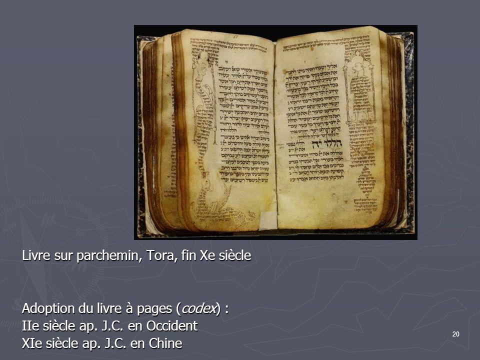 20 Livre sur parchemin, Tora, fin Xe siècle Adoption du livre à pages (codex) : IIe siècle ap.