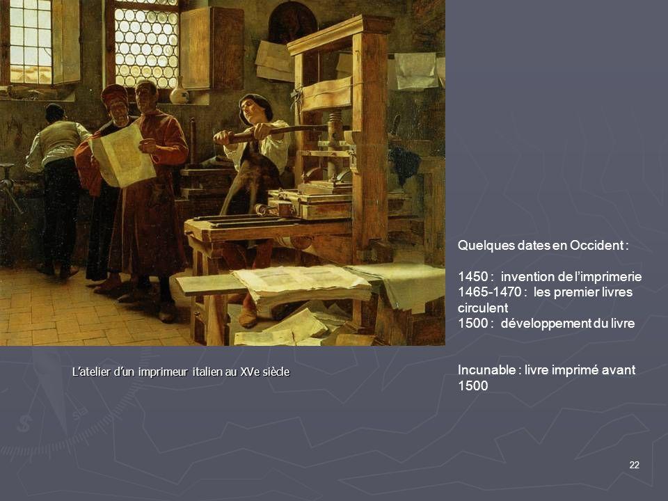 22 L'atelier d'un imprimeur italien au XVe siècle Quelques dates en Occident : 1450 : invention de l'imprimerie 1465-1470 : les premier livres circulent 1500 : développement du livre Incunable : livre imprimé avant 1500