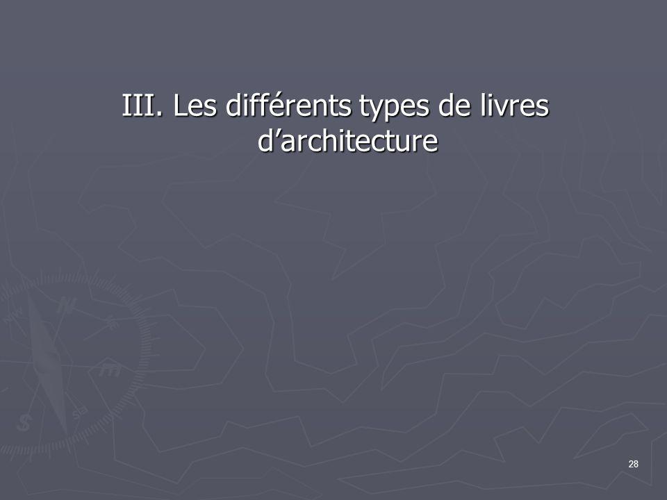 28 III. Les différents types de livres d'architecture