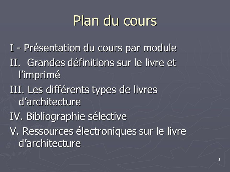 3 Plan du cours I - Présentation du cours par module II.