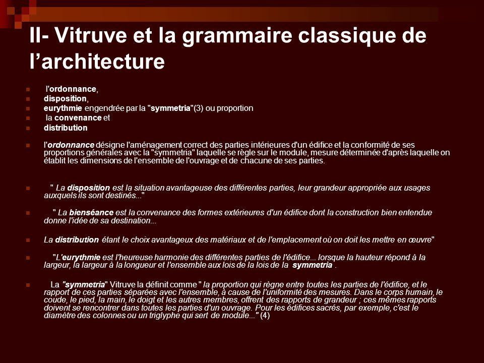 II- Vitruve et la grammaire classique de l'architecture l'ordonnance, disposition, eurythmie engendrée par la