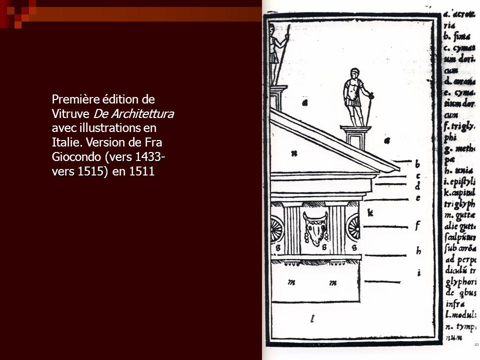 (vers 1433- vers 1515) Première édition de Vitruve De Architettura avec illustrations en Italie. Version de Fra Giocondo (vers 1433- vers 1515) en 151