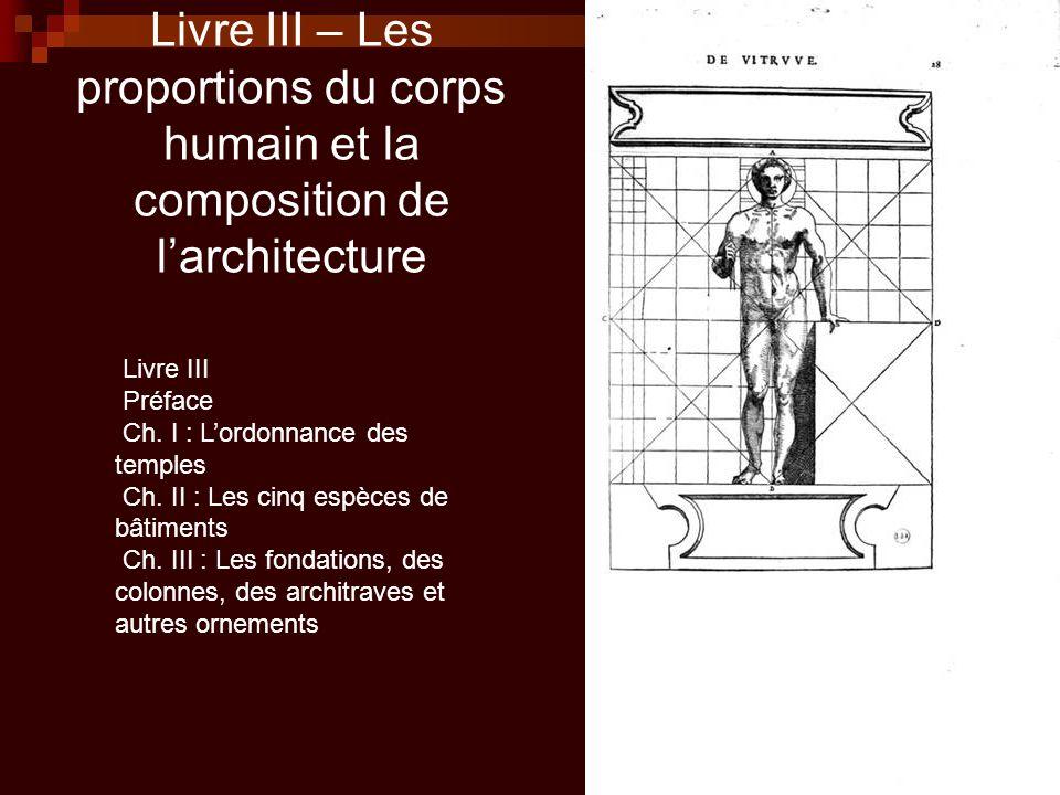 Livre III – Les proportions du corps humain et la composition de l'architecture Livre III Préface Ch. I : L'ordonnance des temples Ch. II : Les cinq e