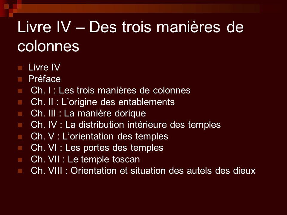 Livre IV – Des trois manières de colonnes Livre IV Préface Ch. I : Les trois manières de colonnes Ch. II : L'origine des entablements Ch. III : La man