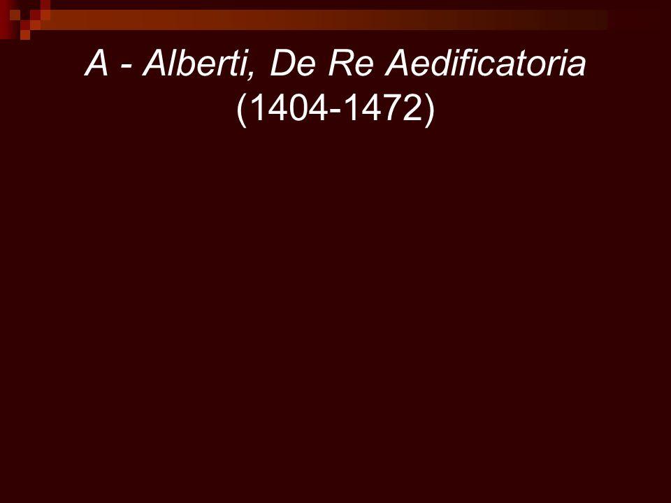 A - Alberti, De Re Aedificatoria (1404-1472)