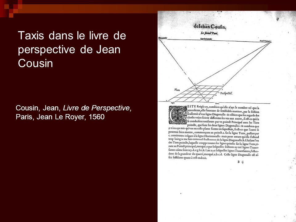 Taxis dans le livre de perspective de Jean Cousin Cousin, Jean, Livre de Perspective, Paris, Jean Le Royer, 1560