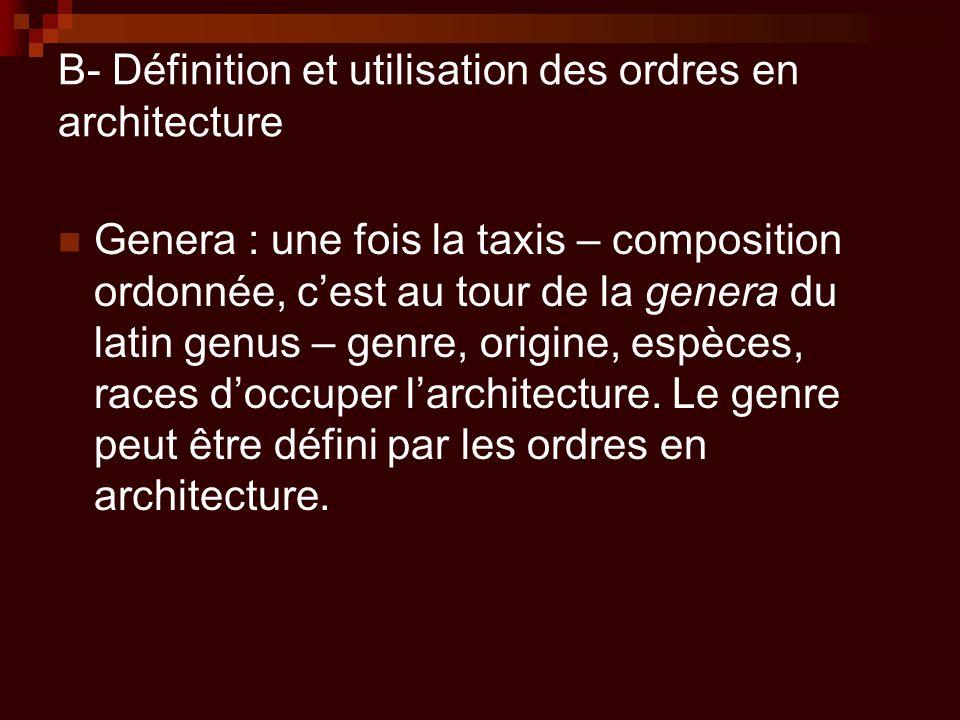 B- Définition et utilisation des ordres en architecture Genera : une fois la taxis – composition ordonnée, c'est au tour de la genera du latin genus –