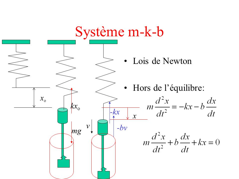 Système m-k-b Lois de Newton Hors de l'équilibre: kx o mg xoxo x v -kx -bv