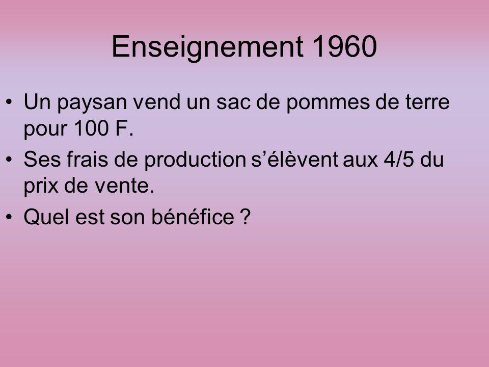 Enseignement 1960 Un paysan vend un sac de pommes de terre pour 100 F. Ses frais de production s'élèvent aux 4/5 du prix de vente. Quel est son bénéfi