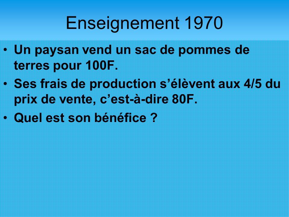 Enseignement 1970 Un paysan vend un sac de pommes de terres pour 100F. Ses frais de production s'élèvent aux 4/5 du prix de vente, c'est-à-dire 80F. Q