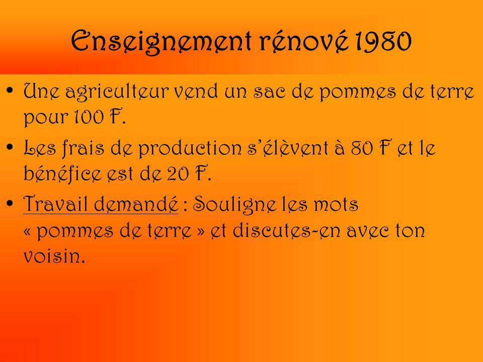 Enseignement rénové 1980 Une agriculteur vend un sac de pommes de terre pour 100 F. Les frais de production s'élèvent à 80 F et le bénéfice est de 20