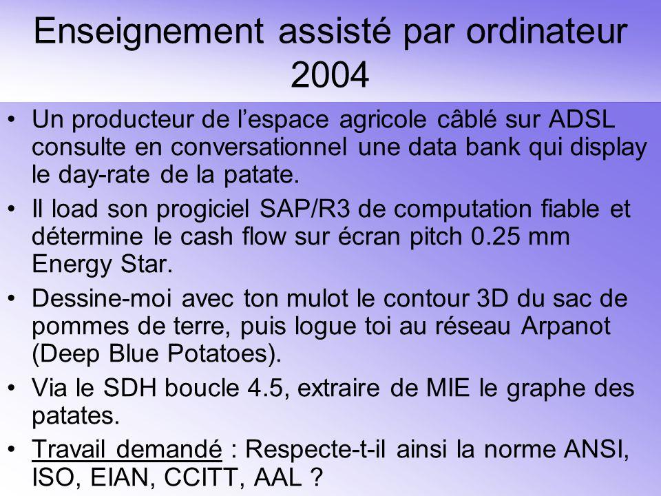 Enseignement assisté par ordinateur 2004 Un producteur de l'espace agricole câblé sur ADSL consulte en conversationnel une data bank qui display le day-rate de la patate.
