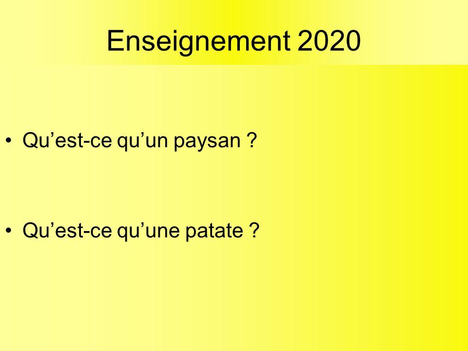 Enseignement 2020 Qu'est-ce qu'un paysan ? Qu'est-ce qu'une patate ?