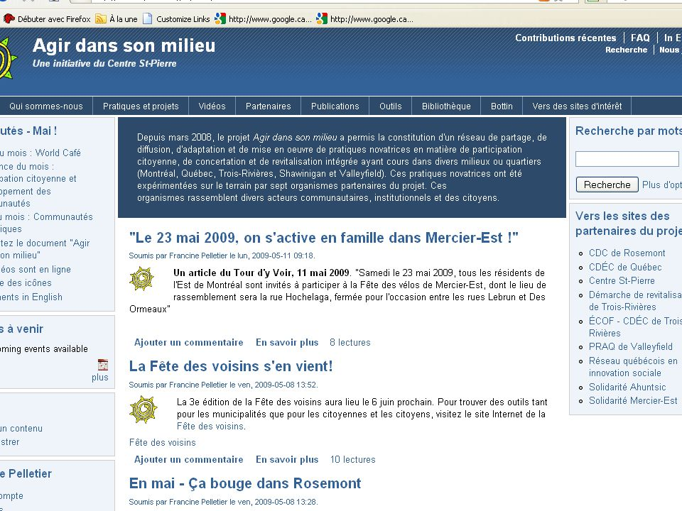 15 Une pratique novatrice en matière de transfert de savoirs par Lise St-Germain, CRSA Présentation ACFAS 2009