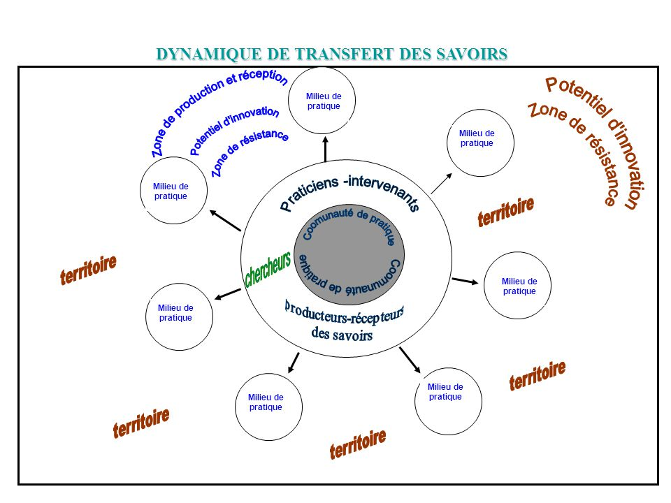 22 Milieu de pratique DYNAMIQUE DE TRANSFERT DES SAVOIRS