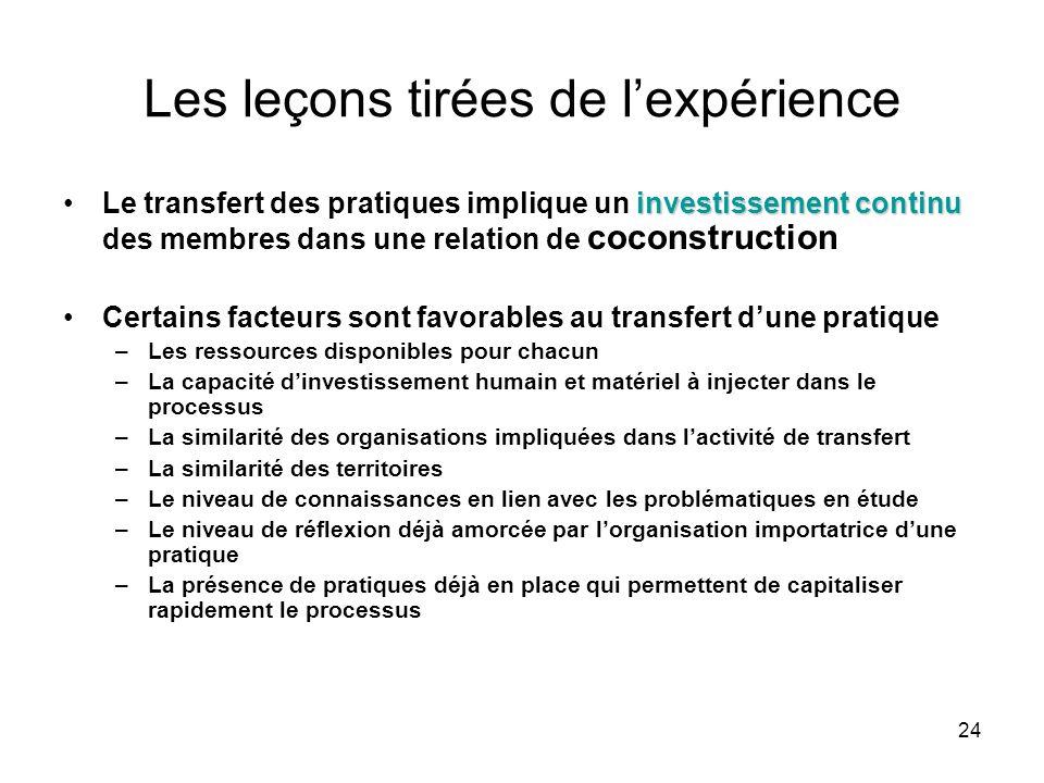 24 Les leçons tirées de l'expérience investissement continuLe transfert des pratiques implique un investissement continu des membres dans une relation