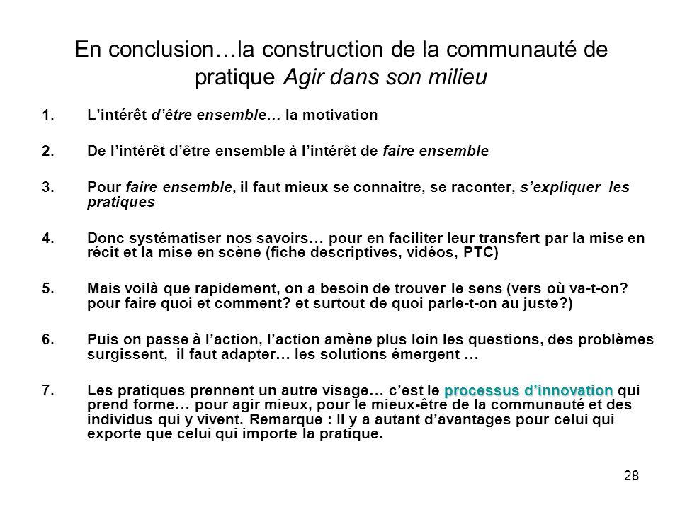 28 En conclusion…la construction de la communauté de pratique Agir dans son milieu 1.L'intérêt d'être ensemble… la motivation 2.De l'intérêt d'être en