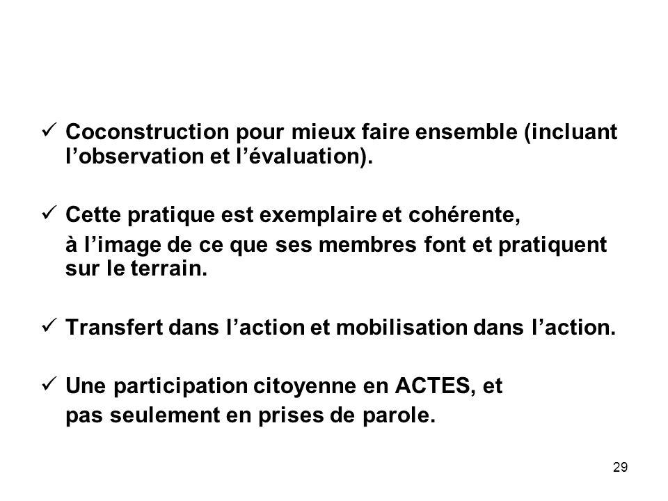 29 Coconstruction pour mieux faire ensemble (incluant l'observation et l'évaluation).