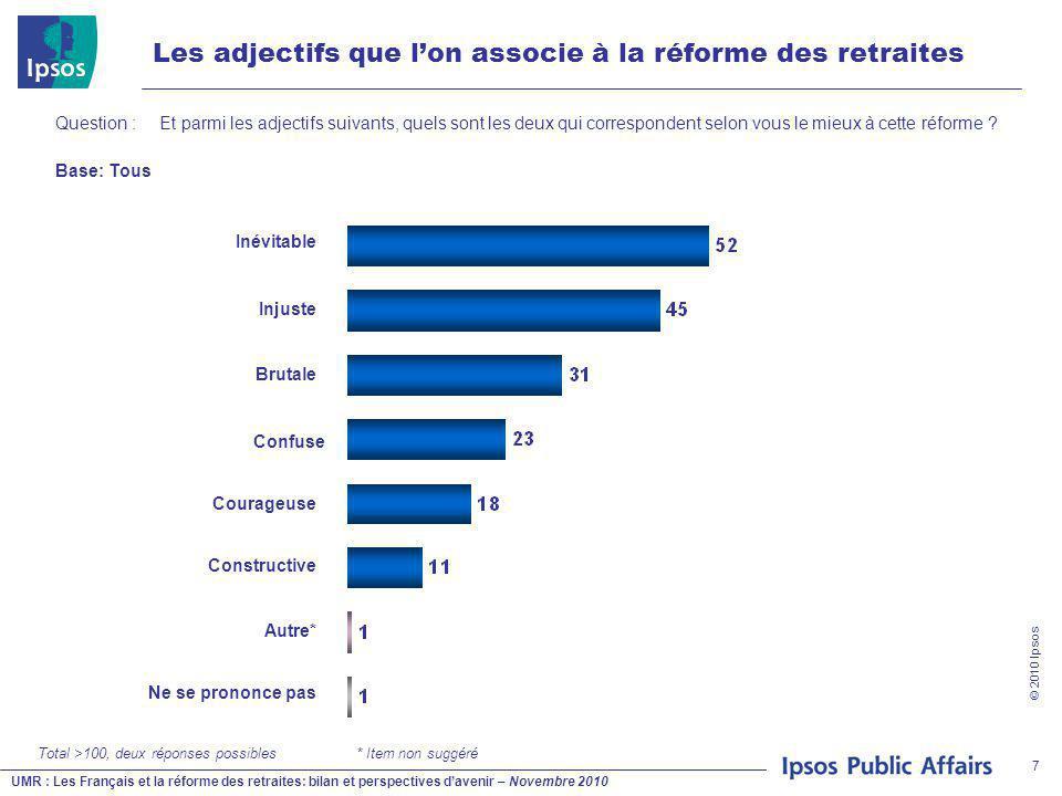 UMR : Les Français et la réforme des retraites: bilan et perspectives d'avenir – Novembre 2010 © 2010 Ipsos 7 Les adjectifs que l'on associe à la réforme des retraites Question : Et parmi les adjectifs suivants, quels sont les deux qui correspondent selon vous le mieux à cette réforme .