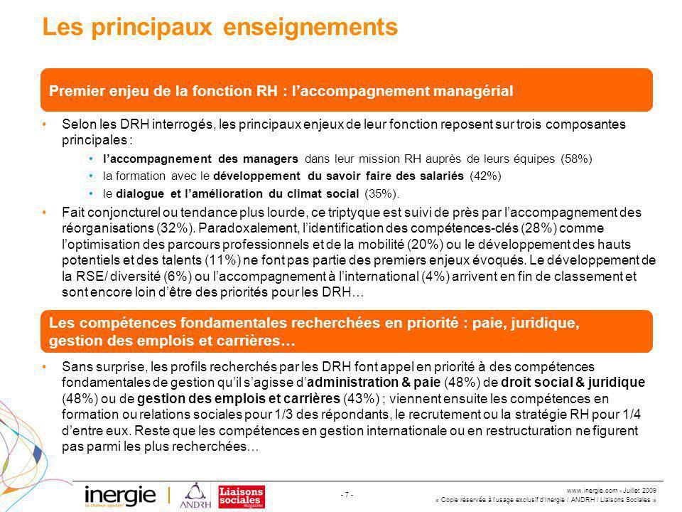 www.inergie.com - Juillet 2009 « Copie réservée à l'usage exclusif d'Inergie / ANDRH / Liaisons Sociales » - 18 - Dans le cadre de l'intégration de nouveaux collaborateurs, quel profil privilégiez-vous selon le poste .