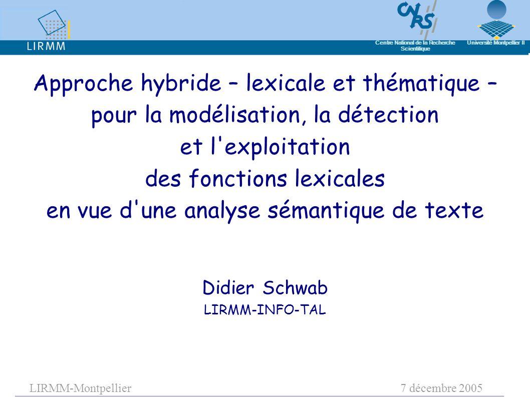 LIRMM-Montpellier7 décembre 2005 Centre National de la Recherche Scientifique Université Montpellier II Didier Schwab LIRMM-INFO-TAL Approche hybride