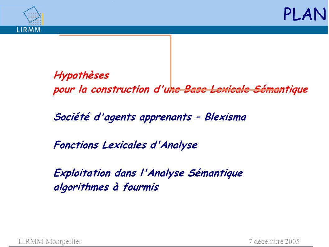 LIRMM-Montpellier7 décembre 2005 Hypothèses pour la construction d une Base Lexicale Sémantique Société d agents apprenants – Blexisma Fonctions Lexicales d Analyse Exploitation dans l Analyse Sémantique algorithmes à fourmis PLAN
